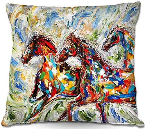 Decorative Woven Couch Throw Pillow from DiaNoche Designs by Karen Tarlton Unique Bedroom, Living Room and Bathroom Ideas – Abstract Wild Horses