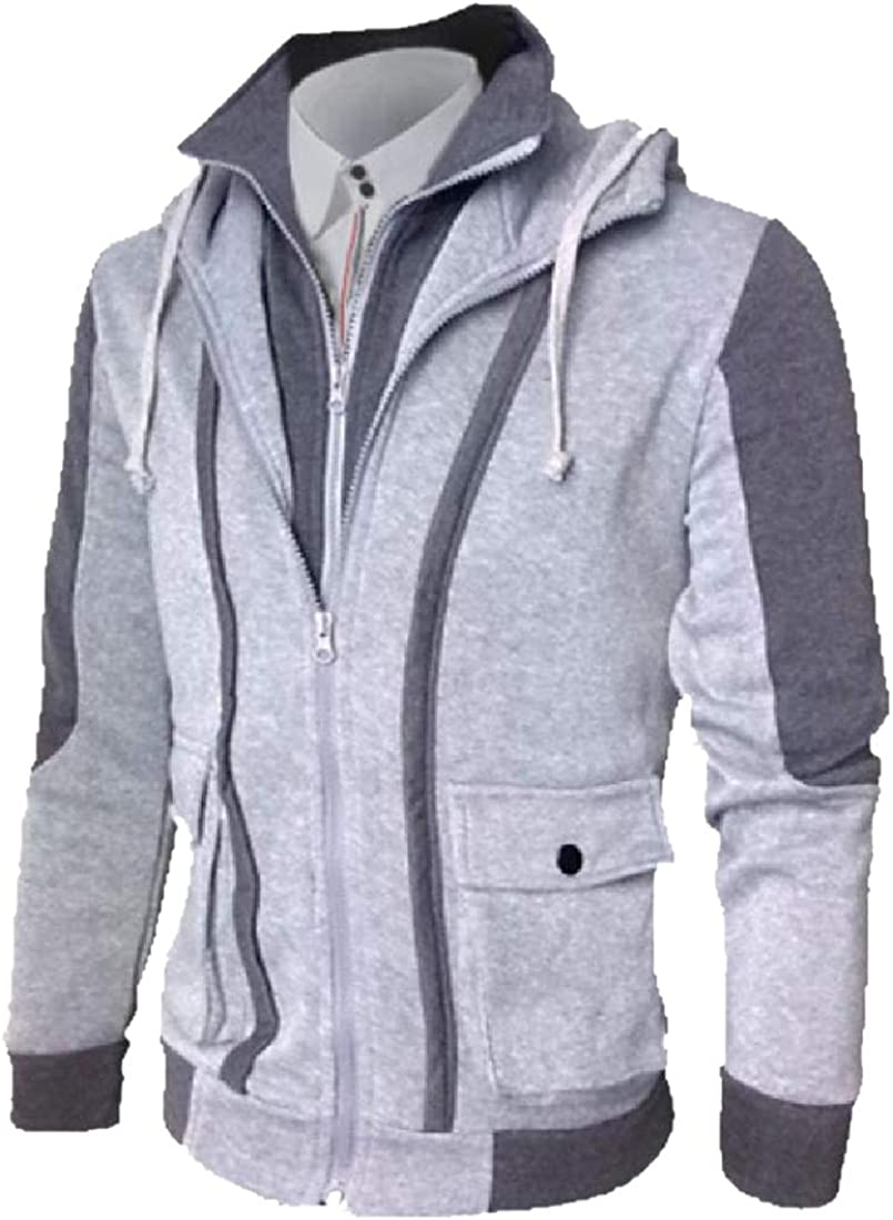 YUNY Mens Relaxed-Fit Fake Two-Piece Warm Velvet Tracksuit Top Light Grey XL