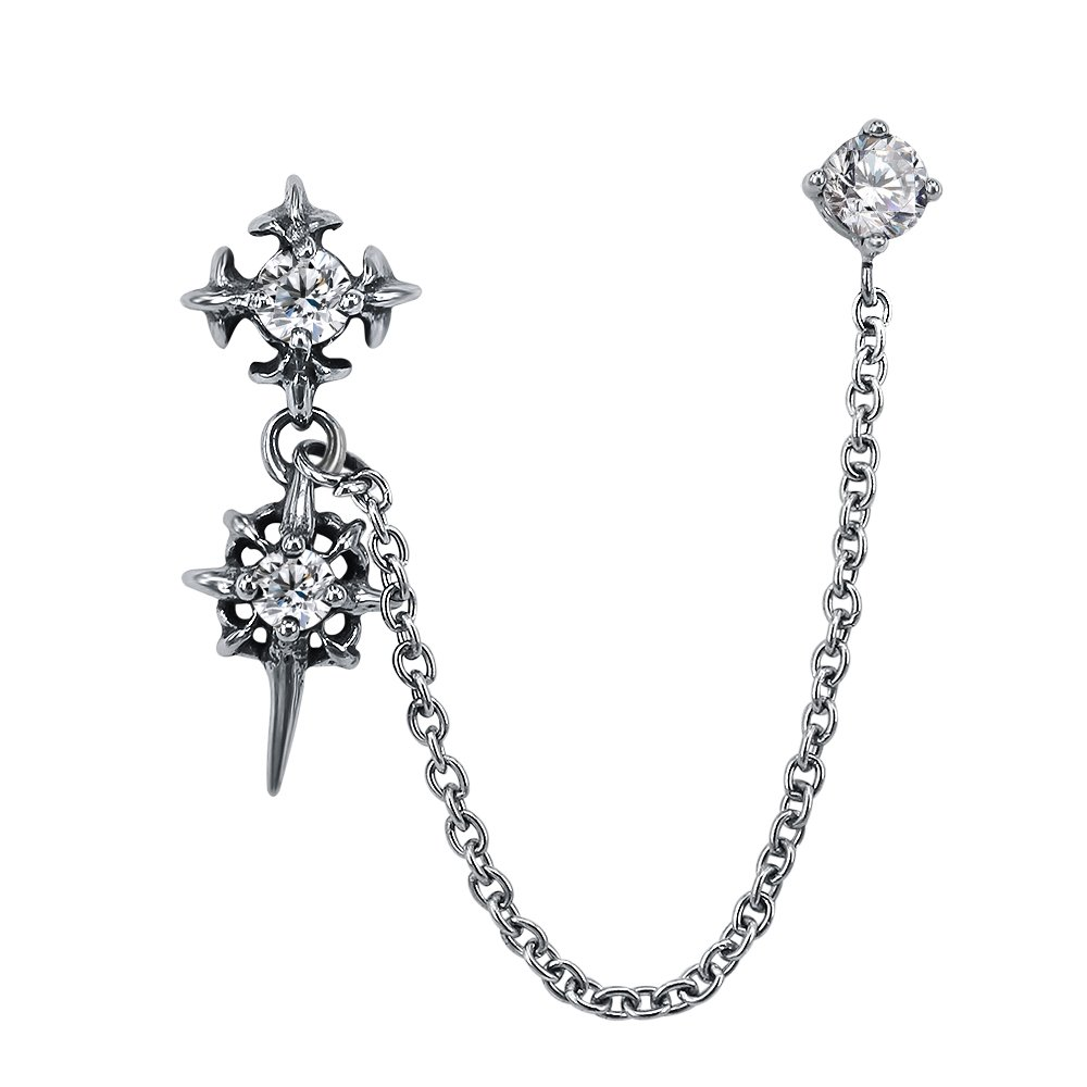 Chain Linked Upper Ear Stud Punk Sword Dangle Surgical Steel Helix Cartilage to Lobe Stud Earring (Style 2 White)