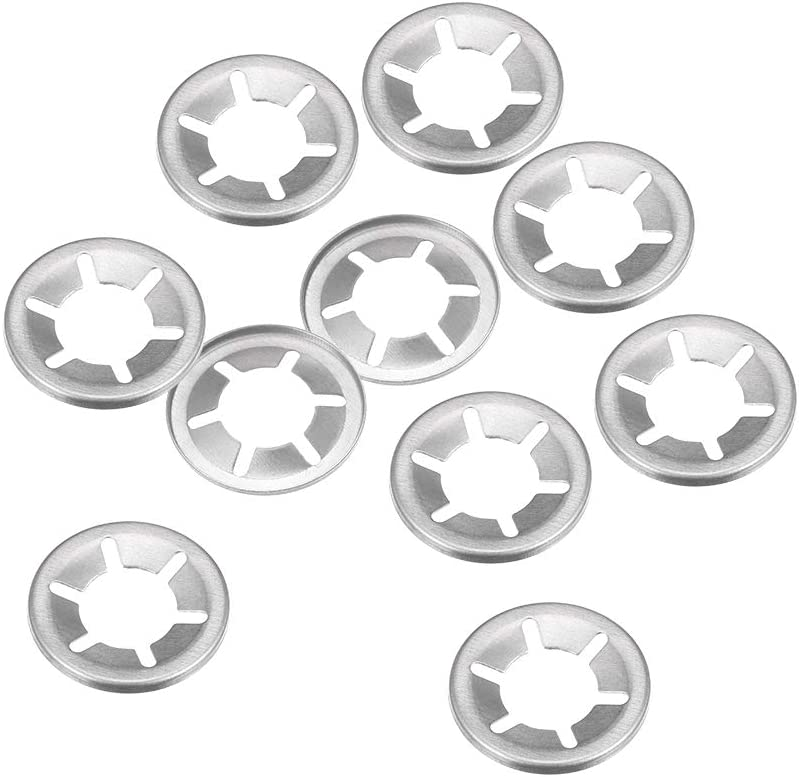 Internal Tooth Lock Washers Push-On Locking Speed Clip 304 Stainless Steel 10pcs 19mm O.D sourcing map M10 Starlock Washer 9.1mm I.D