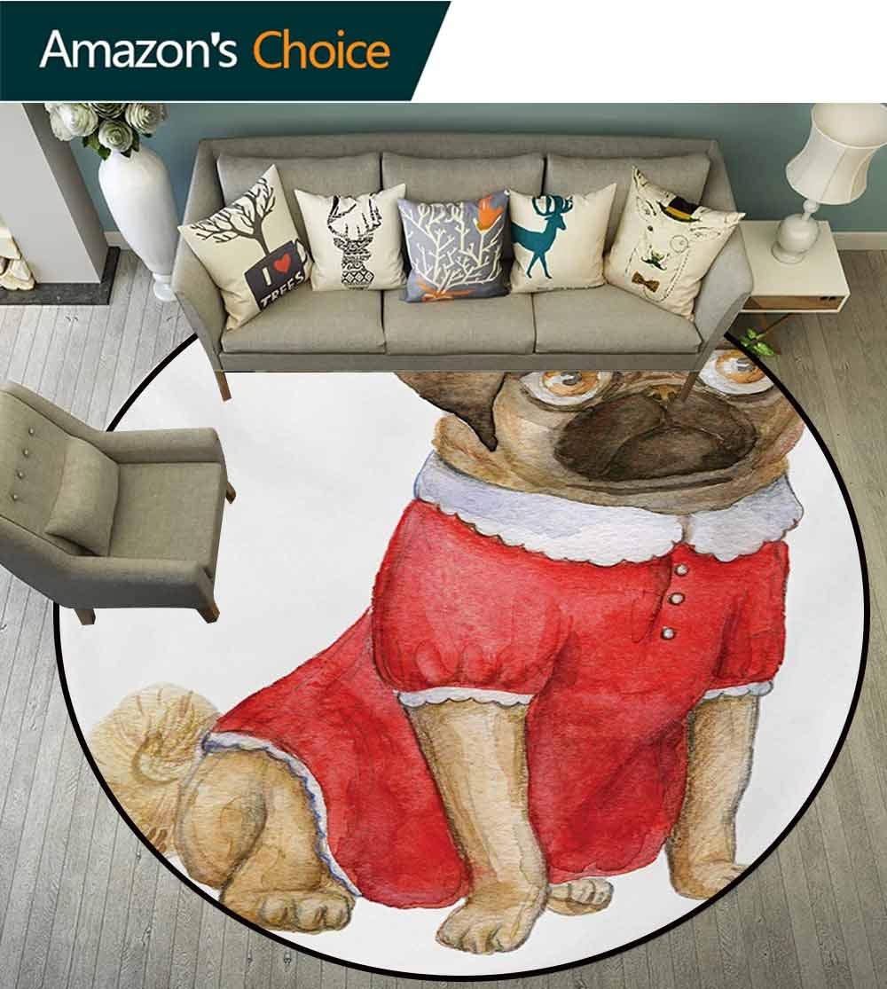RUGSMAT Pug Modern Washable Round Bath Mat,Cute Dog in Red Dress Animal Cartoon Style Design Funny Pet Picture Print Non-Slip Bathroom Soft Floor Mat Home Decor,Diameter-71 Inch Pale Brown Red Brown