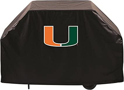 Miami Hurricanes HBS Black Outdoor Heavy Duty Breathable Vinyl BBQ Grill Cover Holland Bar Stool Co