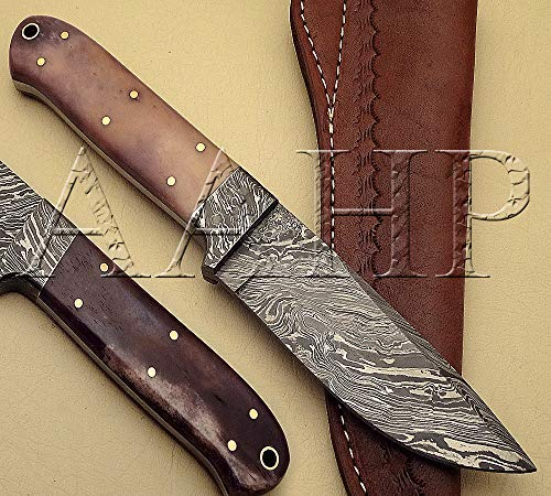 AAHP - 60, 9 Inches Handmade Damascus Skinner Knife with Approx 4.5 inch Blade Made of 100% Real Damascus Steel, Approx 4.5 inch Bone with Brass Pins & Pipe