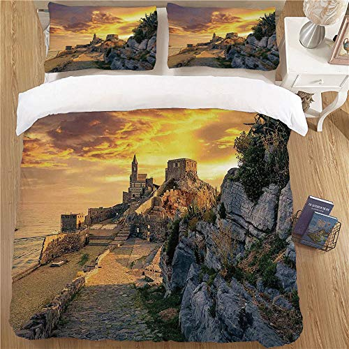 - Kids Duvet Cover Set,King Size,3pc for Children's Bedroom Medieval Decor Old Renaissance Period Castle by The Mediterranean Sea in Italian Town The Past Photo Orange Grey