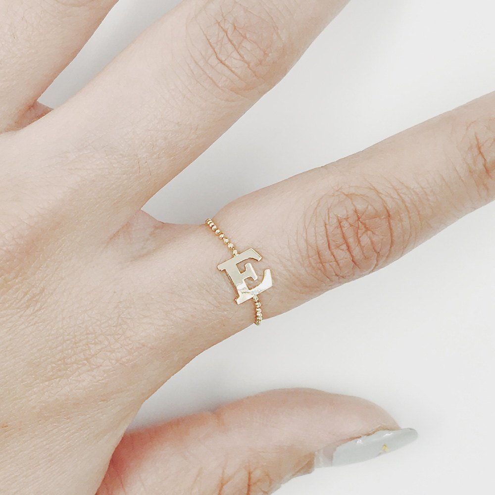Personalized Initial Ring, Monogram Ring, Letter Ring, 14K Solid Gold Ball Chain Initial Ring, Name Ring, Comfortable Ring