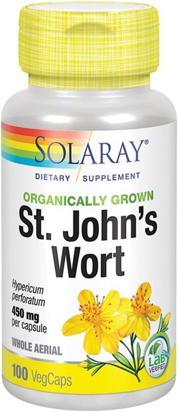 Solaray Organically Grown St. John's Wort Aerial 450mg | Herbal Support for Mood, Brain Health & Healthy Sleep | 100% Vegan, Non-GMO | 100ct: Health & Personal Care