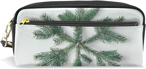Estuche con cremallera grande para maquillaje, diseño de copo de nieve de Navidad, hecho de ramas de árbol, estuche para lápices para niños y niñas: Amazon.es: Oficina y papelería