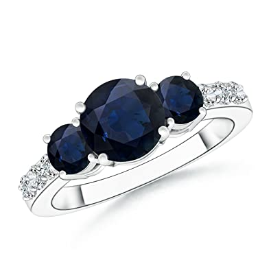 Angara Round Blue Sapphire Three Stone Ring in 14k White Gold xFTGXgyd5