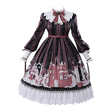 Chiguo Girl Chiffon Long Sleeve lace Print Gothic and Classic Lolita