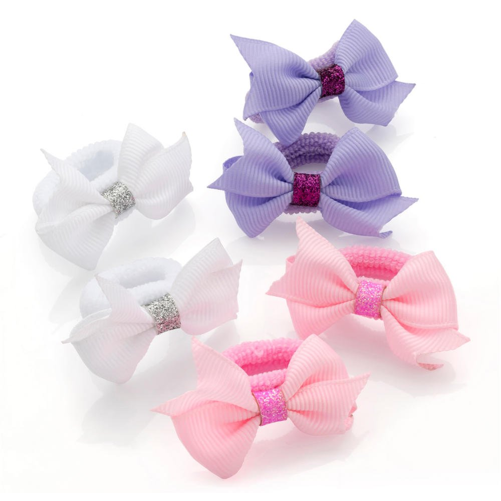 Handmade Tiny Baby Girls Dot Hair Bow Bobbles Sold in Pairs