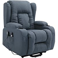 Electric Massage Chair Armchair Recliner Lift Motor Armchair 8 Point Heating Linen Fabric Sofa Blue