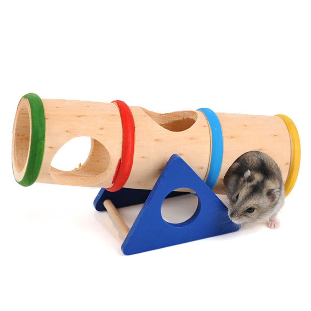 Wooden Seesaw Tunnel For Syrian Hamster Gerbil Rat Mouse Small Animal House Cage House Chew Toy Keersi