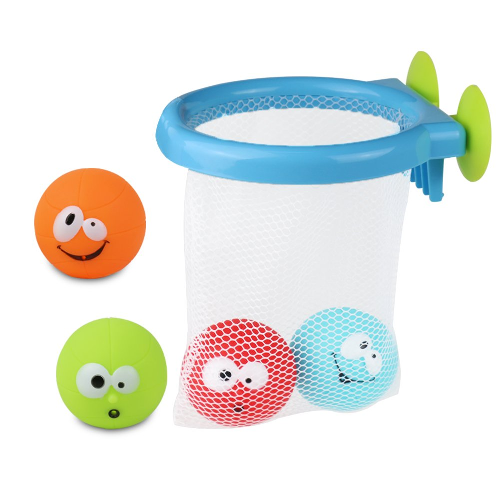 Symiu Bath Toys Set Bath Time Basketball 4 Soft Balls Bath Dunkers Storage for Babies Boys Girls Age 3 Years Old up (5 pcs) Kaichi Toys Factory