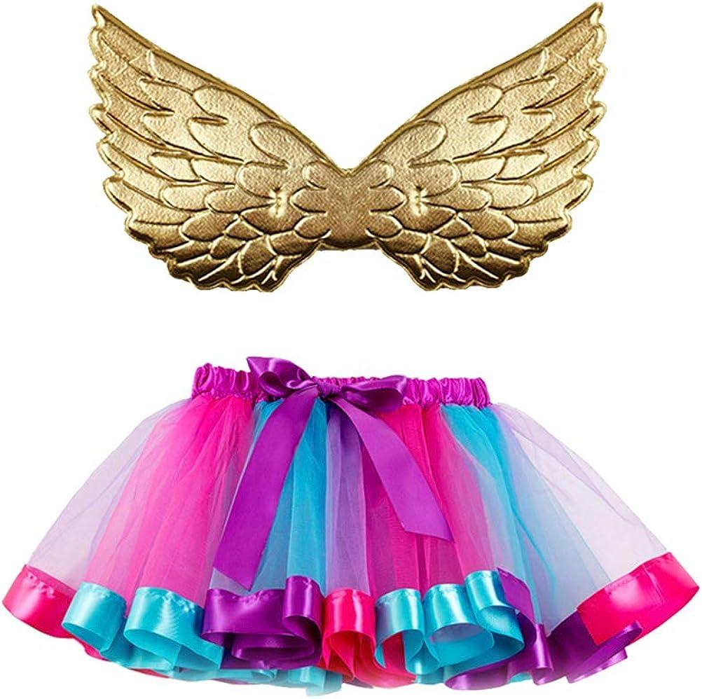 Amosfun Falda tutú de Tul de Malla arcoíris para Danza con alas ...