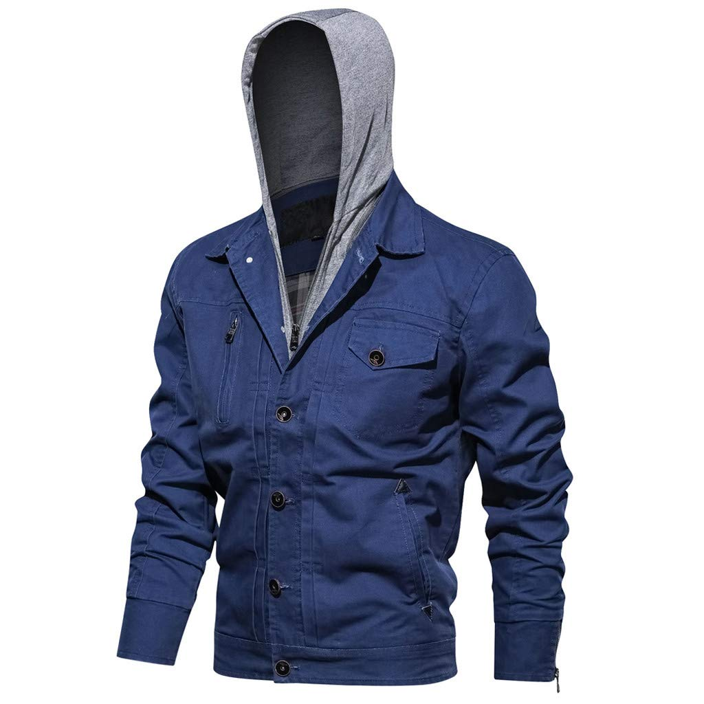 Fitfulvan Men's Winter Washed Tooling Outwear Hoodie Tactical Breathable Jacket Coat Blue