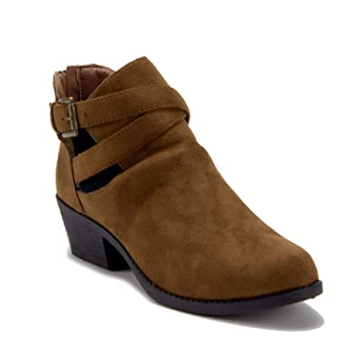 Women's BAL-05W Cut Out Belted Slip On Ankle High Booties Suede Boots
