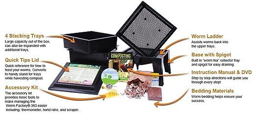 lombrices 360 Worm Compost Bin + Bonus