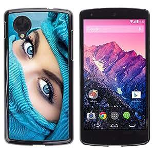 CASETOPIA / Blue eyes / LG Google Nexus 5 D820 D821 / Prima Delgada SLIM Casa Carcasa Funda Case Bandera Cover Armor Shell PC / Aliminium