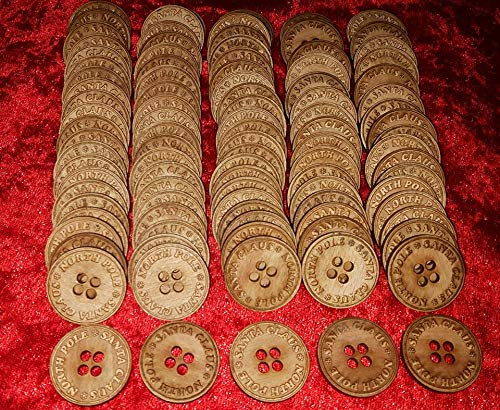 Dazzle Glitter Tattoos 100 x Santa's Lost Button Special Christmas Wood Engraved Wholesale