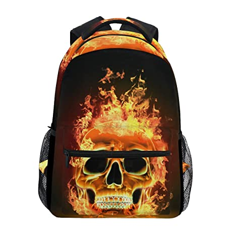 Amazon com: Wamika Fire Skull Backpacks Flaming Skeleton