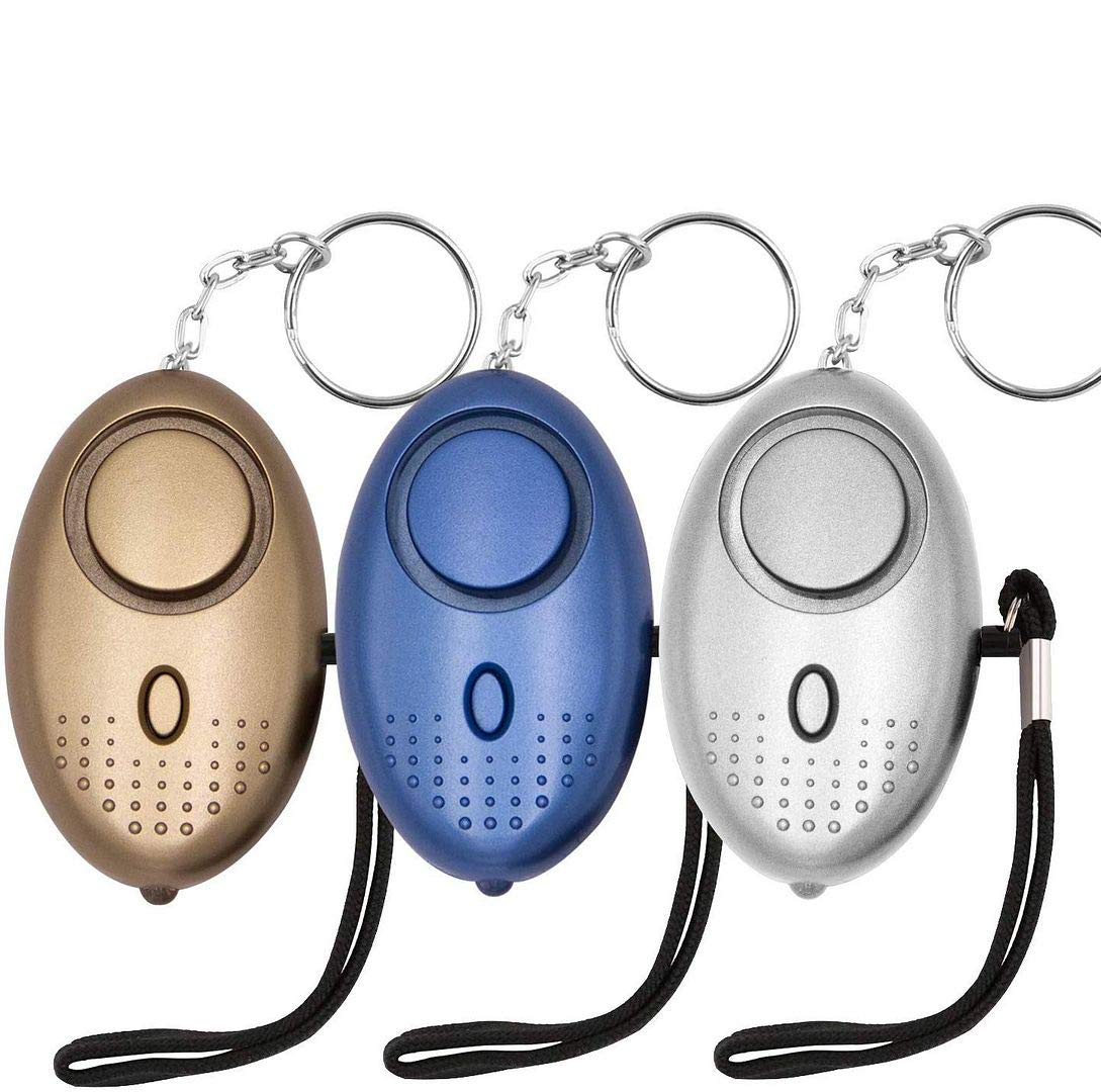 KOSIN Safe Sound Personal Alarm, 3 Pack 145DB Personal Security Alarm Keychain with LED Lights, Emergency Safety Alarm for Women, Men, Children, Elderly (3 Pack)