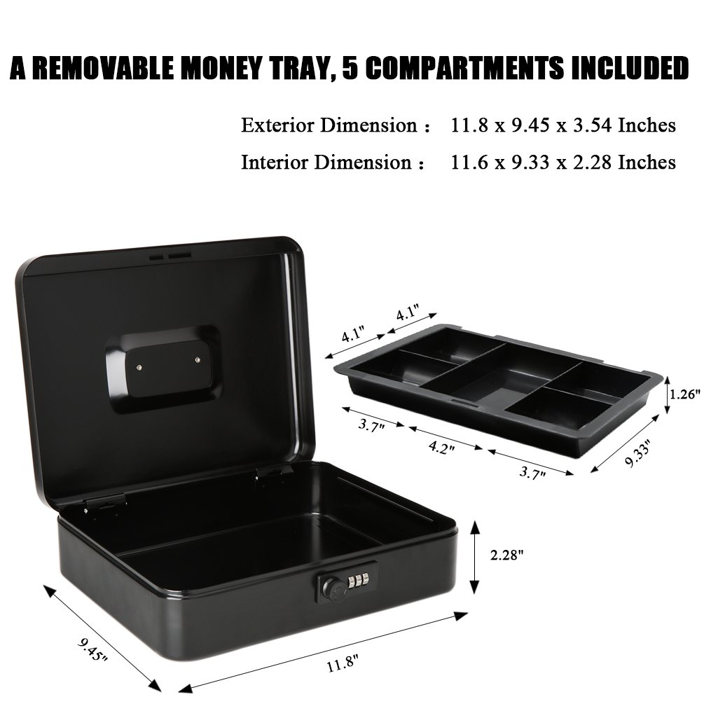 Jssmst Large Cash Box with Combination Lock – Durable Metal Cash Box with Money Tray, Black, 11.81 x 9.84 x 3.46 inches, CB0701XL by Jssmst (Image #5)