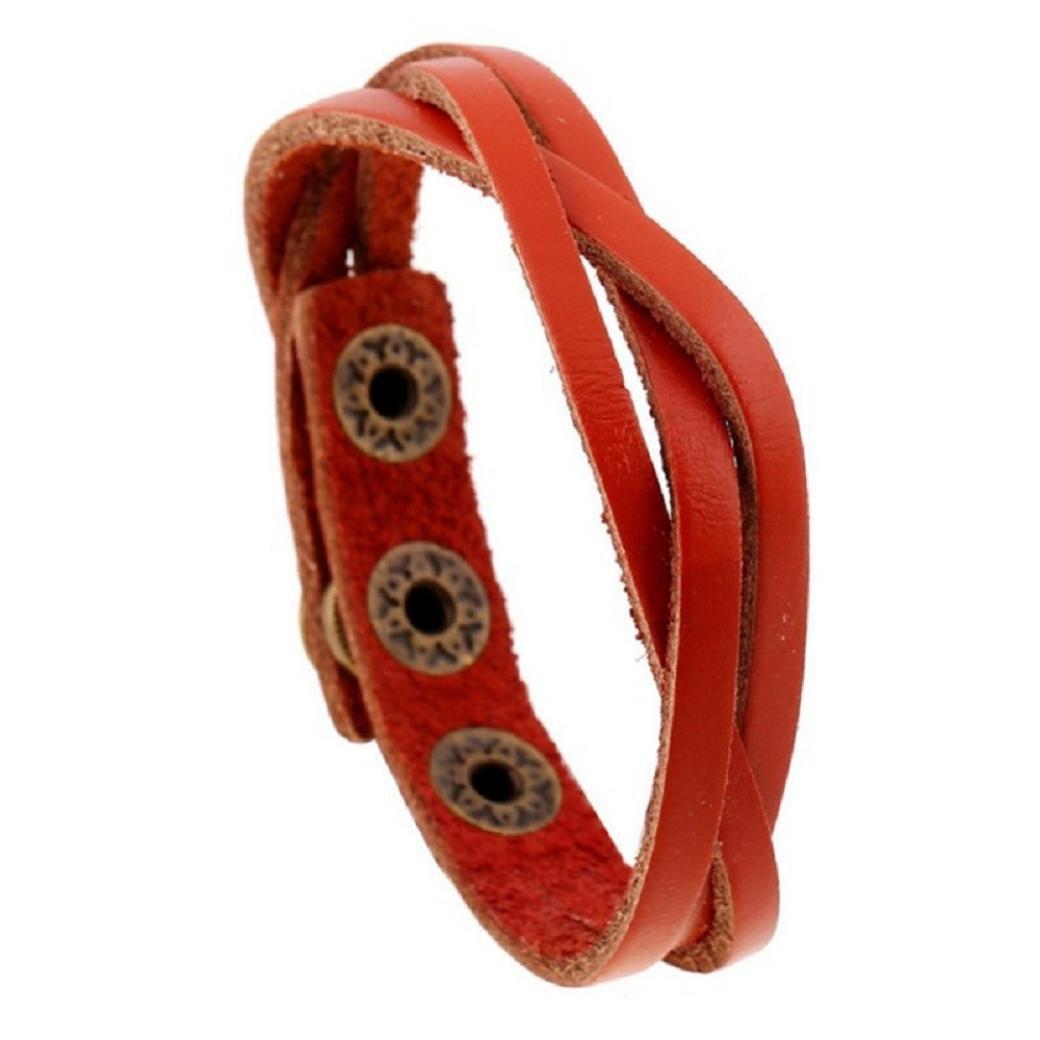 New! Laimeng Leather Wrap Braided Wristband Cuff Punk Men Women Bracelet Bangle (Orange)