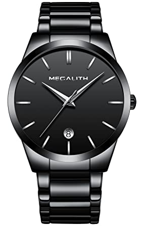 4ee31d28ea Image Unavailable. Image not available for. Color: Mens Stainless Steel  Watches Men Luxury Waterproof Date ...