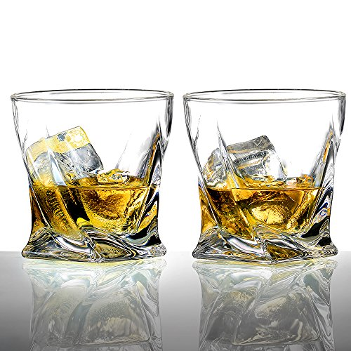Ecooe 300mL/10.24oz Old Fashion Twist Whiskey Glasses Tumblers for Scotch, Bourbon and More, Set of 2