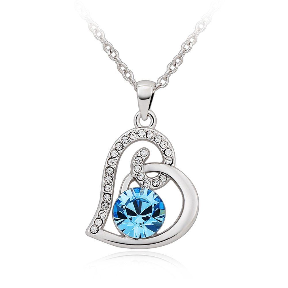 ''You Are The Only'' Alloy Platinum Plated Love Heart-Shaped Pendant Necklace with Cubic Zirconia,16.5''