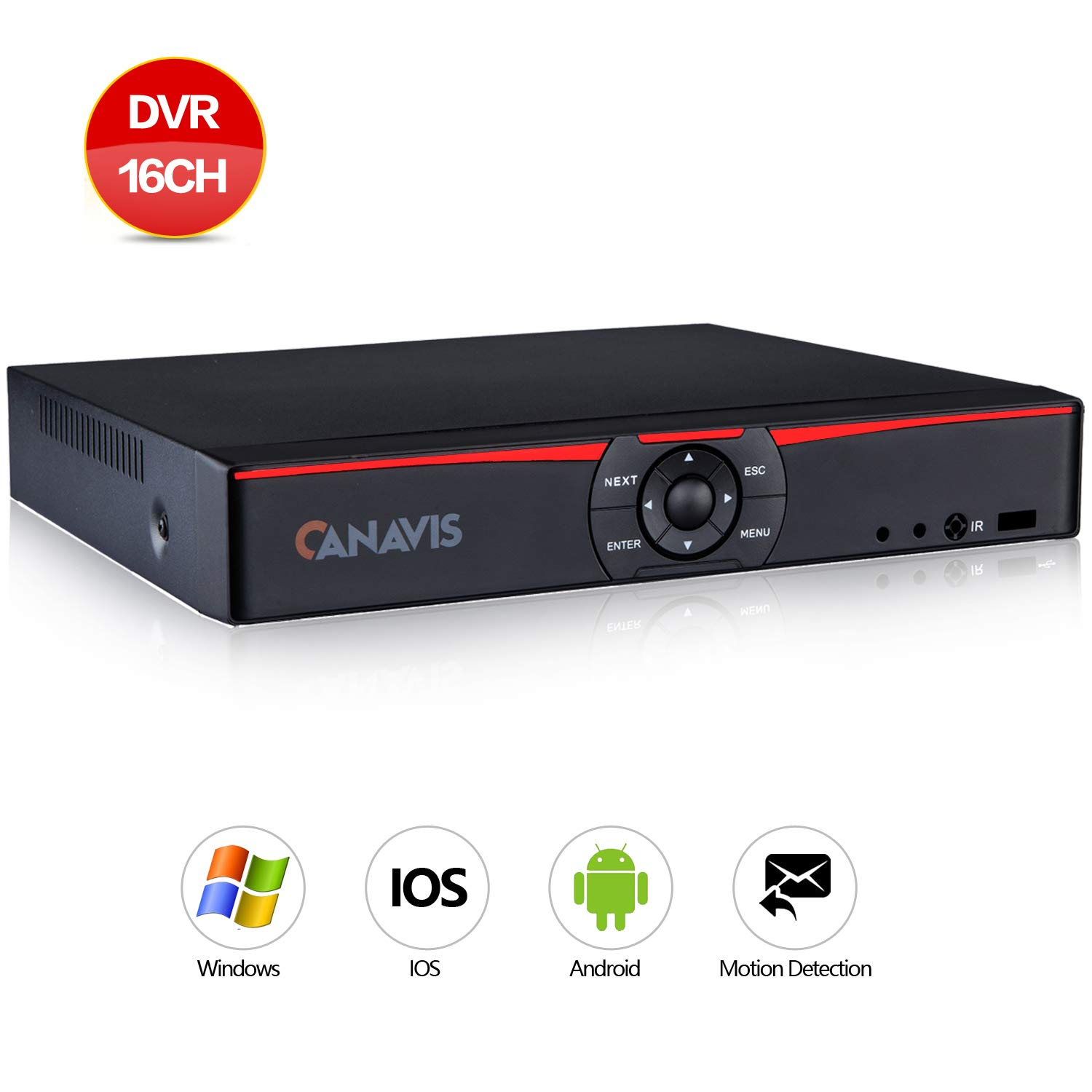 CANAVIS 16Channel 1080N Hybrid 5-in-1 DVR H.264 CCTV Security Surveillance DVR Record System NO Hard Disk (Full 720P,QR Code Scan Quick Access, Smartphone& PC Easy Remote Access) by CANAVIS