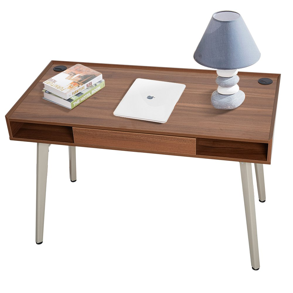 """Dporticus 47""""Modern Computer Desk Workstation with Drawer PC Laptop Table Writing Desk Study Home Office Furniture Brown"""