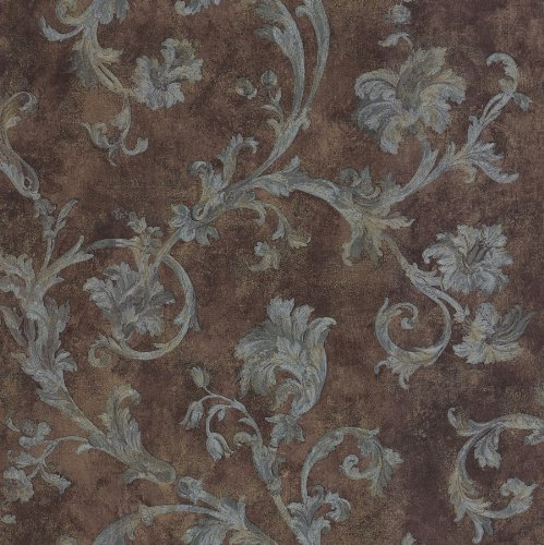 Brewster 430-7112 Scrolls and Damasks Scroll Trail Wallpaper, 20.5-Inch by 396-Inch, - Scroll Brown Wallpaper