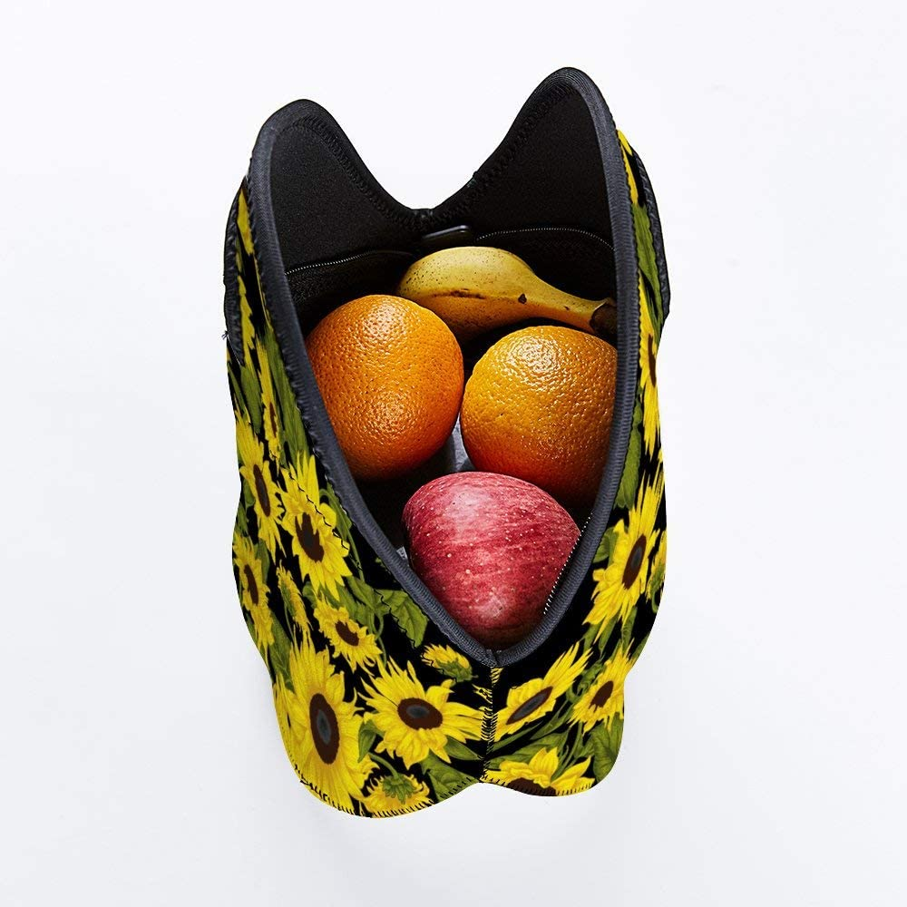 Soft Reusable Neoprene Lunch Tote Bag Cartoon Cow Lightweight Lunch Box Insulated Picnic Bags Reusable Picnic Travel Organizer Holder Container For School Work Outdoor Office