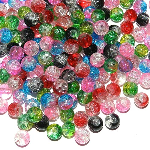 Bead Jewelry Making Assorted Bi-Color 6mm Round Crackle Glass Bead Mix 8oz (1,440 Beads) ()