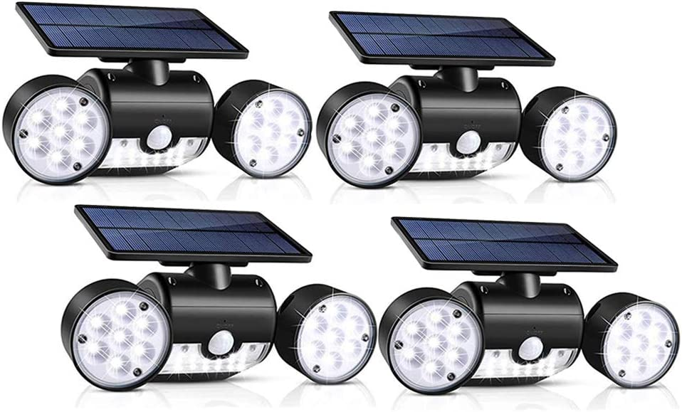 Sunenvoy Solar Lights Outdoor, 30 LED Waterproof Solar Powered Wall Lights with Dual Head Spotlights 360-Degree Rotatable Solar Motion Security Night Lights for Outdoor Pation Yard Garden 4 Pack
