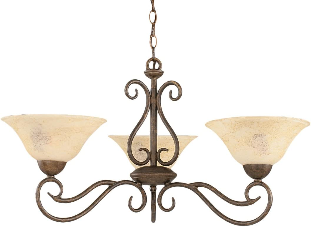 Toltec Lighting 43-BRZ-518 Olde Iron Three-Light Uplight Chandelier Bronze Finish with Italian Marble Glass, 10-Inch