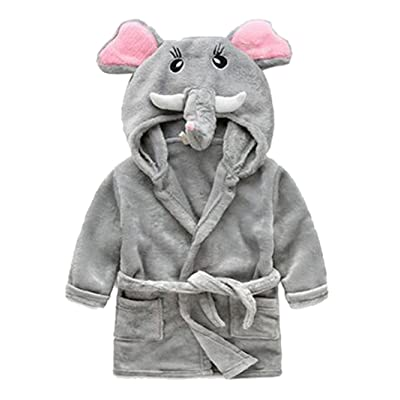 Ainibab Toddler Kids Cartoon Hooded Plush Robe Animal Pajamas Fleece Bathrobe Children Sleepwear