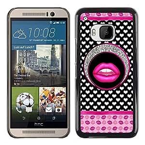 Caucho caso de Shell duro de la cubierta de accesorios de protección BY RAYDREAMMM - HTC One M9 - Lips Glitter Hearts Pink White Pattern