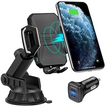 CHOETECH Cargador Inalámbrico Coche, 10W/7.5W Qi Wireless Car Charger Soporte Móvil para iPhone 11/11 Pro/Xs/Xs Max/XR/X/8, Galaxy Note 10 / S10 / S9 ...