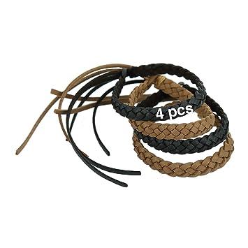 Pulseras antimosquitos de piel sintética Kinven (sin DEET): elegante trenzado, 2 paquetes (4 pulseras). Colores: marrón, negro.: Amazon.es: Jardín