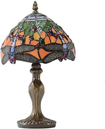 Tiffany Lamp 14 Inch Tall Stained Glass Crystal Style Shade Accent Antique End, Bedside Art Table Desk Light Decorative Living Room Bedroom College Dorm