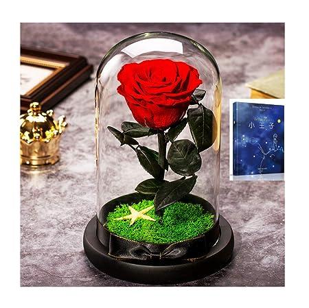 ALYR Rosa eterna, con luz LED Rosa Encantada Conservada Flor ...
