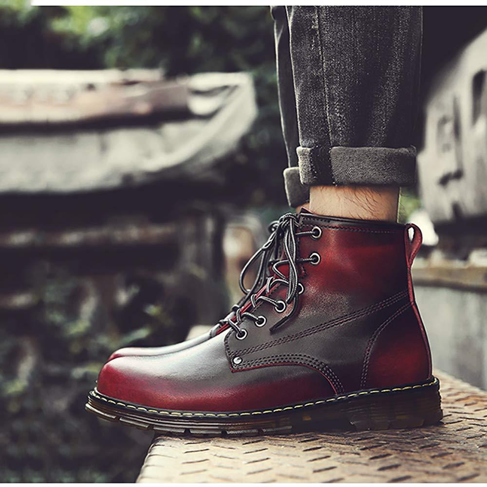 DZX Winter Männer Frauen Outdoor Casual Casual Casual Leder Schuhe Britischen Stil Lace Up Rutschfeste Luxuriöse Leder Martin Stiefel-für Arbeit Und Gehen,rot-44 f95599
