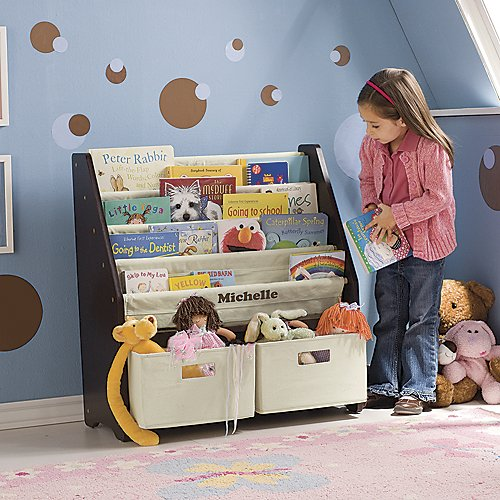 Kids' Sling Bookshelf with Storage Bins ESPRESSO