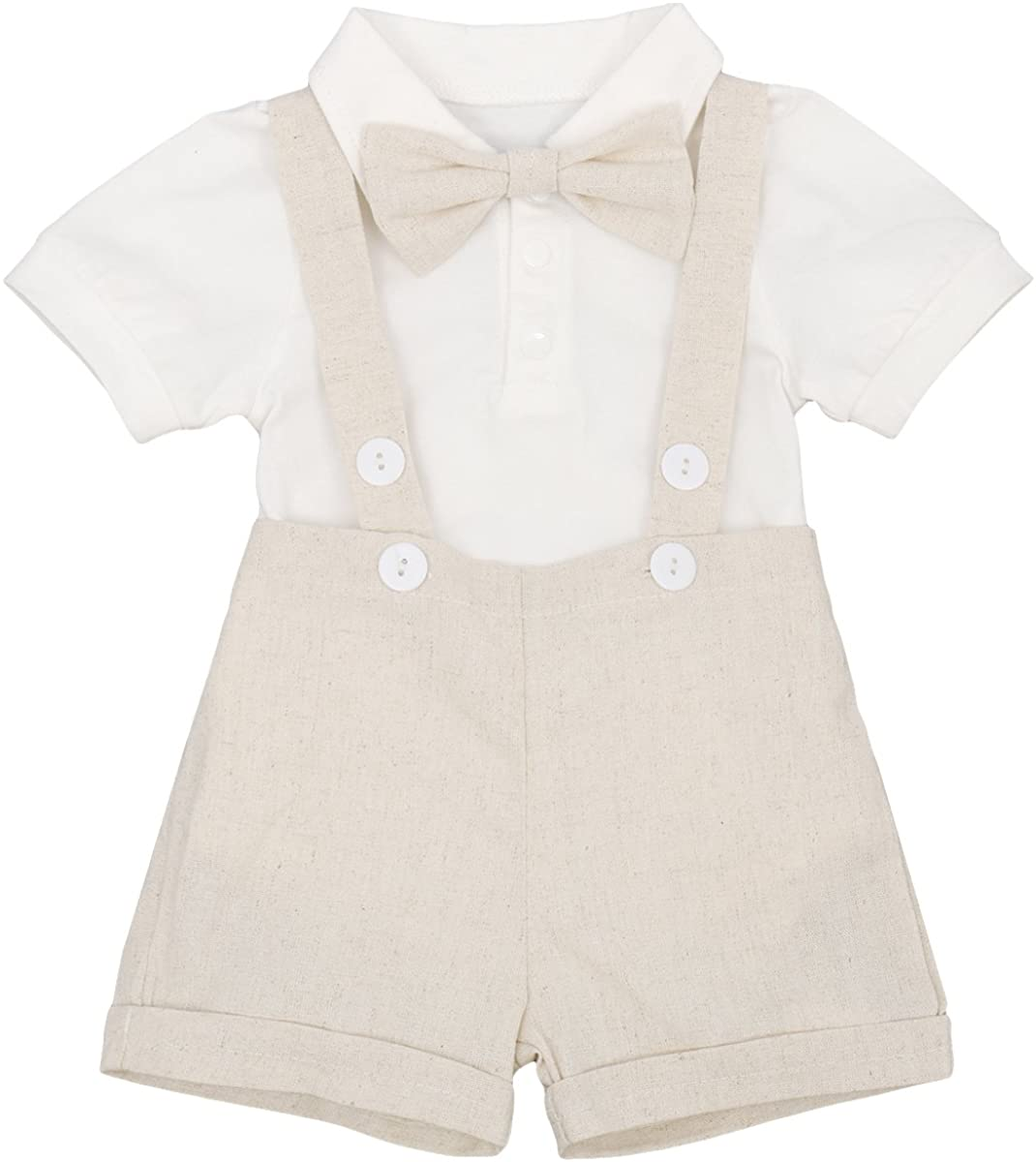 Baby Boy Gentleman Formal Suit Tuxedo Bowtie Romper Suspenders Cake Smash Outfit Wedding Bib Pants Overalls Clothes