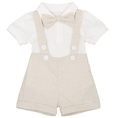 f895f8454f2 Baby Boys Christening Outfit Tuxedo Gentleman Bowtie Romper + Suspenders  Strap Adjustable Elastic Braces Shorts Pants Toddler Infant Formal Birthday  Party ...