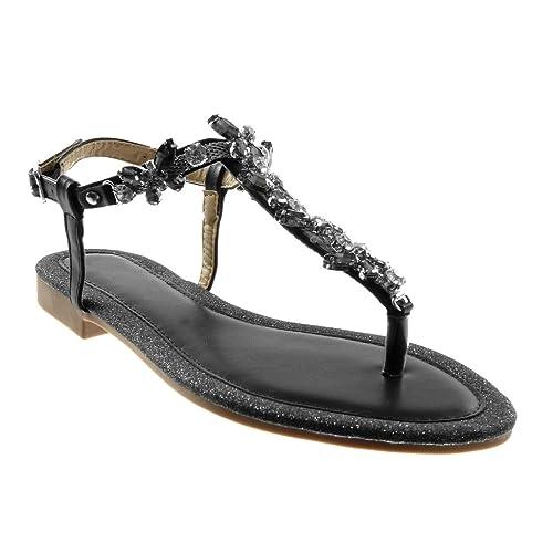 Angkorly - Zapatillas Moda Sandalias Chanclas Correa de Tobillo Mujer Joyas Strass Brillante Tacón Ancho 1.5 CM: Amazon.es: Zapatos y complementos
