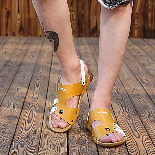Back Slip H Strap Moveable amp;W Open Mens With On Beach Toe Yellow Sandals AO4vqA