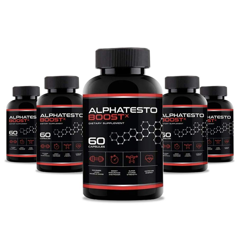 Alphatesto Boost X Capsules/Pills for Men - 5 Bottles 300 Capsules